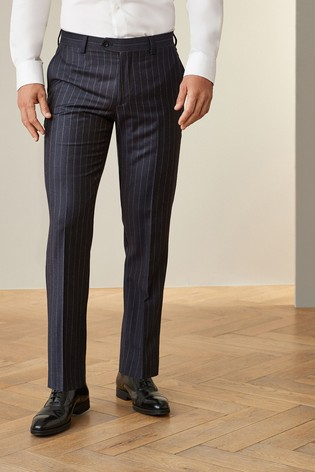 Navy Tailored Fit Empire Mills Signature Stripe Suit: Trousers