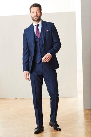 Blue Slim Fit Empire Mills Signature Stripe Suit: Jacket
