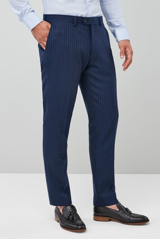 Blue Slim Fit Empire Mills Signature Stripe Suit: Trousers