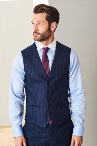 Blue Empire Mills Signature Stripe Suit: Waistcoat