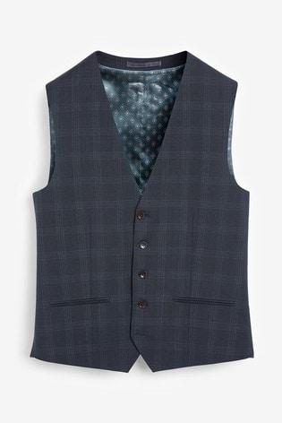 Navy Tollegno Signature Birdseye Check Suit: Waistcoat