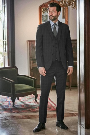 Charcoal Slim Fit Tollegno Signature Birdseye Check Suit: Jacket