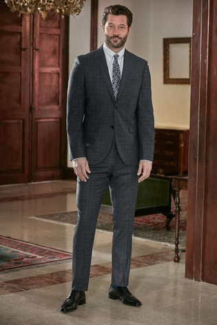 Blue Slim Fit Marzotto Signature Check Suit: Jacket