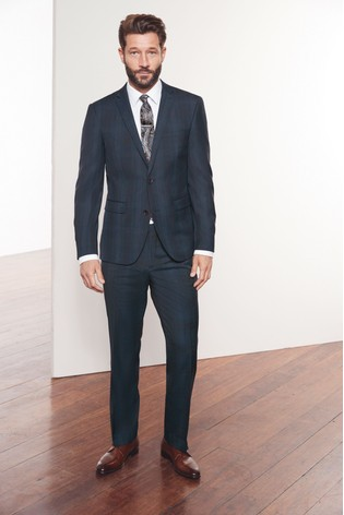 Navy Regular Fit Marzotto Signature Check Suit: Jacket