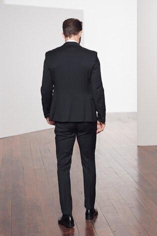 Black Slim Fit Tollegno Signature Tuxedo Suit: Jacket