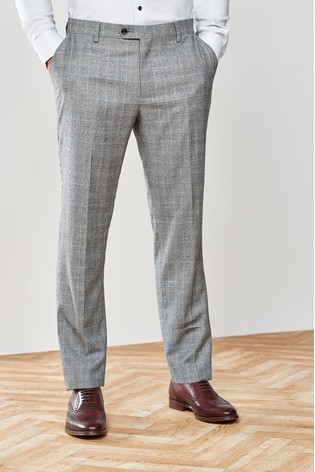 Black/White Tailored Fit Marzotto Signature Check Suit: Trousers