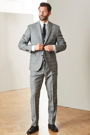 Black/White Tailored Fit Marzotto Signature Check Suit: Jacket