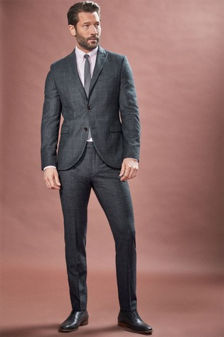 Navy Skinny Fit Marzotto Signature Textured Suit: Jacket