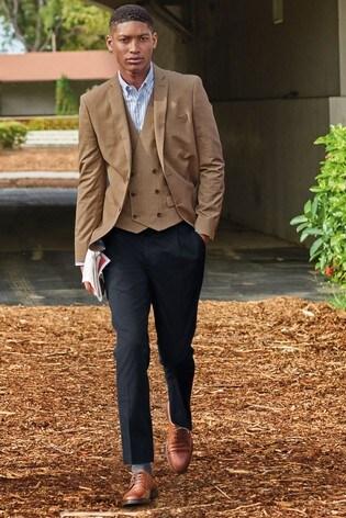Taupe Slim Fit Check Blazer