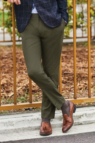 Khaki Slim Tapered Cotton Blend Stretch Pleated Chino Trousers