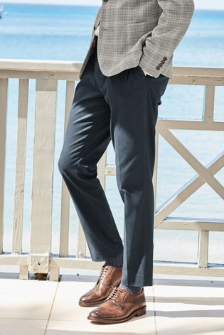 Navy Slim Tapered Cotton Blend Stretch Pleated Chino Trousers