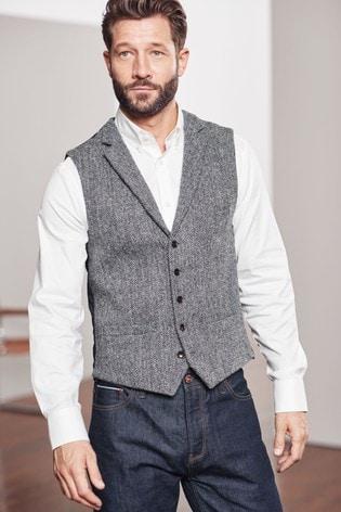 Grey Tailored Fit Herringbone Harris Tweed Signature Waistcoat
