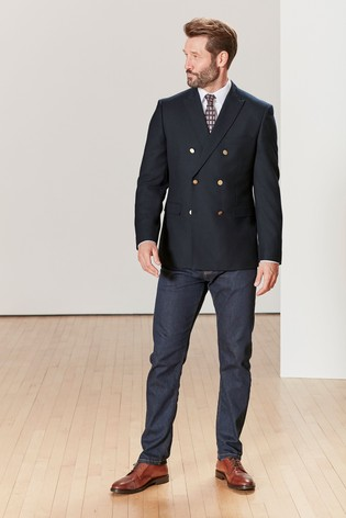 Navy Double Breasted Slim Fit Empire Mills Signature British Wool Jacket