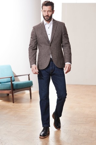 Brown Nova Fides Signature Herringbone Blazer