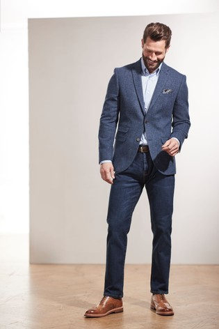Bright Blue Slim Fit Nova Fides Signature Herringbone Blazer