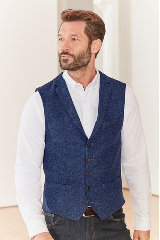 Bright Blue Nova Fides Wool Blend Waistcoat