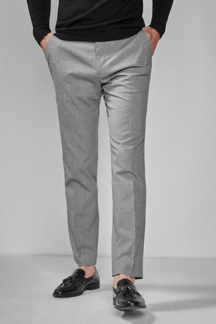 Grey Slim Fit Textured Trousers