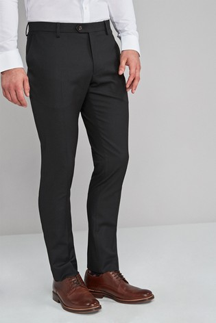 Black Skinny Fit Textured Trousers