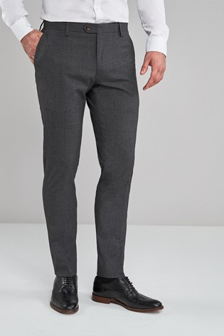 Charcoal Skinny Fit Textured Trousers
