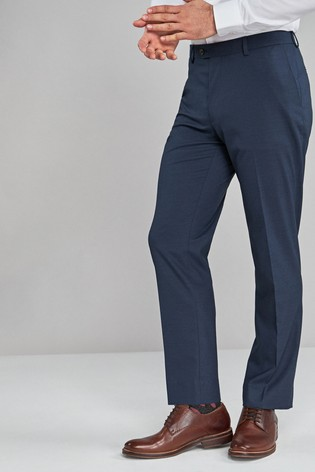 Navy Regular Fit Textured Trousers