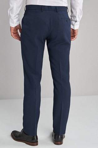 Navy Slim Fit Machine Washable Plain Front Trousers