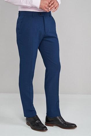 Blue Slim Fit Machine Washable Plain Front Trousers