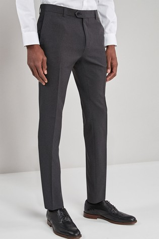 Charcoal Super Skinny Fit Machine Washable Plain Front Trousers