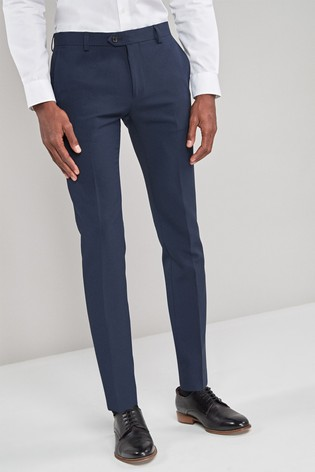 Navy Super Skinny Fit Machine Washable Plain Front Trousers