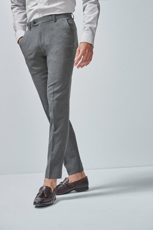 Grey Skinny Fit Machine Washable Plain Front Trousers
