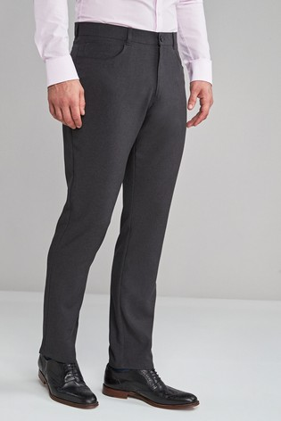 Charcoal Slim Fit Five Pocket Jean Style Trousers