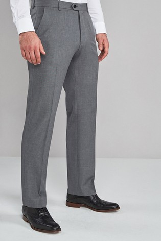 Light Grey Regular Fit Machine Washable Plain Front Trousers