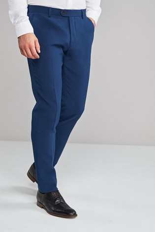 Blue Skinny Fit Machine Washable Plain Front Trousers