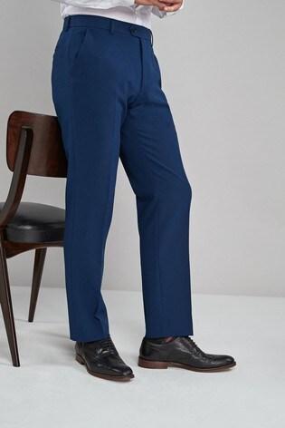Blue Regular Fit Machine Washable Plain Front Trousers