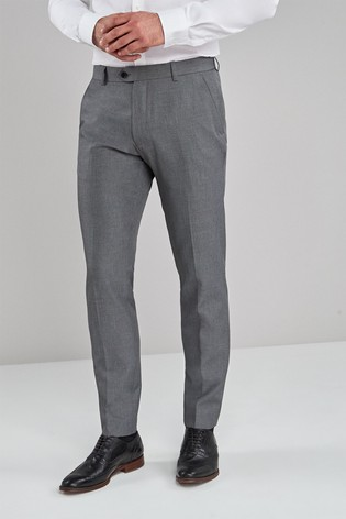 Light Grey Skinny Fit Machine Washable Plain Front Trousers