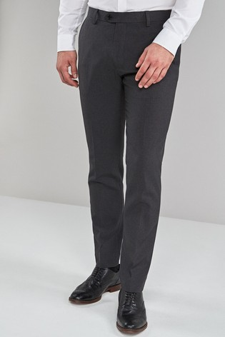 Charcoal Skinny Fit Machine Washable Plain Front Trousers