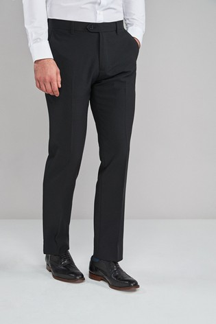 Black Tailored Fit Machine Washable Plain Front Trousers