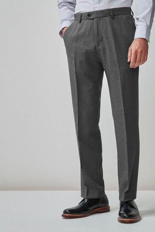 Grey Regular Fit Machine Washable Plain Front Trousers