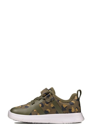 Clarks Olive Camo Ath Flux T Trainers