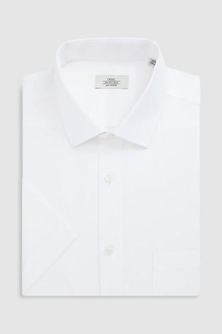 White Regular Fit Short Sleeve Easy Care Shirt