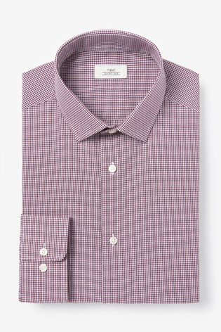 Burgundy Slim Fit Single Cuff Gingham Check Shirt