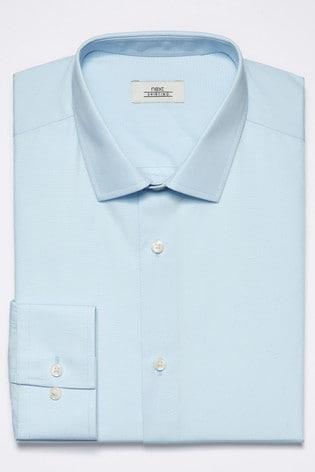 Light Blue Slim Fit Single Cuff Cotton Shirt