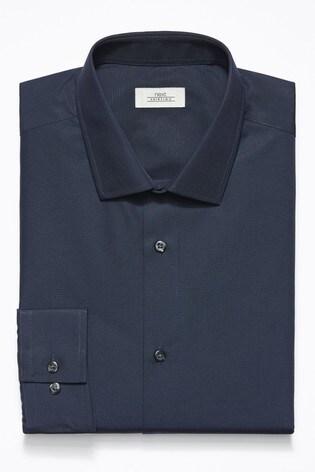 Navy Regular Fit Single Cuff Easy Care Shirt