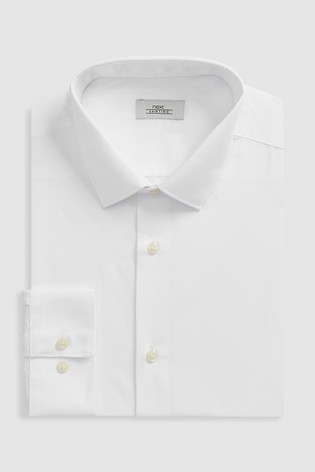 White Slim Fit Single Cuff Easy Care Shirt
