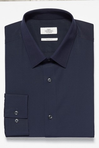 Navy Slim Fit Single Cuff Cotton Shirt