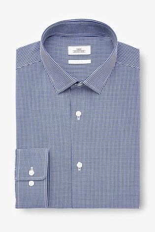 Navy Regular Fit Single Cuff Gingham Check Shirt