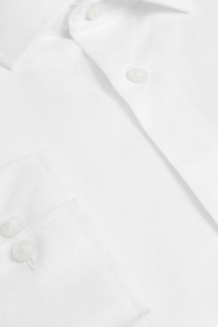 White Regular Fit Single Cuff Cotton Shirt
