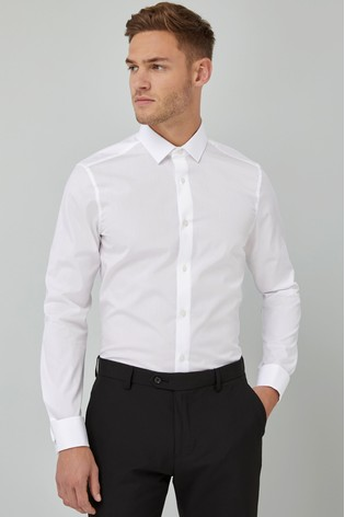 White Slim Fit Double Cuff Cotton Shirt