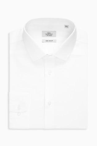White Skinny Fit Single Cuff Cotton Shirt