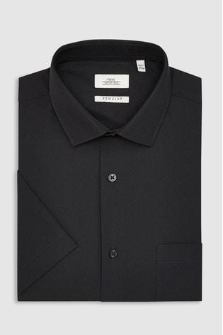 Black Regular Fit Short Sleeve Easy Care Shirt