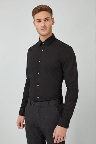 Black Slim Fit Single Cuff Cotton Shirt